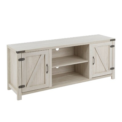 """60"""" Harper Contemporary Farmhouse TV Stand Metal and Wood Antiqued Brown/White - LumiSource"""