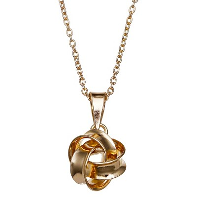 "Polished Loveknot Pendant in Gold Over Sterling Silver - Gold (18"") - Treasure Lockets"