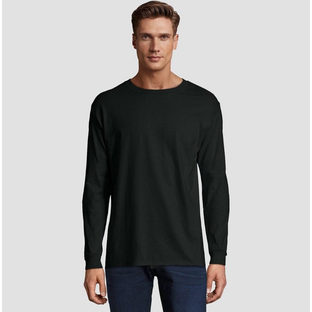 Image of Hanes Men's Long Sleeve Beefy T-Shirt - Black M, Size: Medium