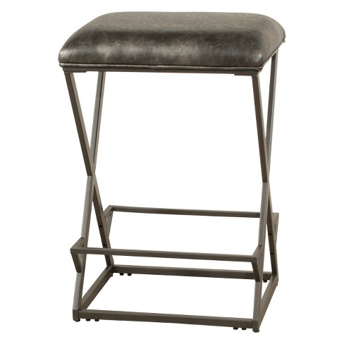 Kenwell Backless Non Swivel Bar Stool Metal Charcoal Gray Fabric Hilale Furniture Target
