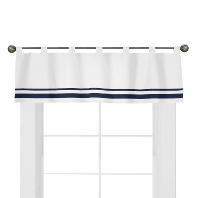 Sweet Jojo Designs White and Navy Hotel Window Valance