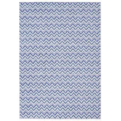 """7'10""""x10'9"""" Rectangle Outdoor Woven Stripe Area Rug Blue - Sunnydaze Decor"""