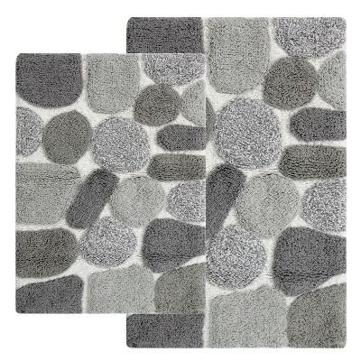 Pebbles Bath Rug Set 2pc Gray - Chesapeake