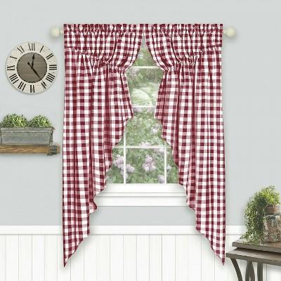 Kate Aurora Farmhouse Plaid Gingham Check Swag Valance Curtain Panel Pair