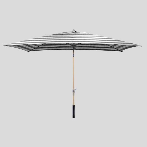 6.5' x 10' Rectangular Cabana Stripe Patio Umbrella - Light Wood Pole - Threshold™ - image 1 of 3