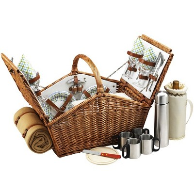 Picnic at Ascot Huntsman English- Style Willow Picnic Basket with Service for 4, Coffee Set and Blanket - Gazebo
