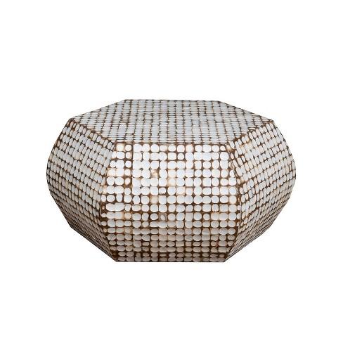Delmont Coconut Shell Inlay Heagon Coffee Table White