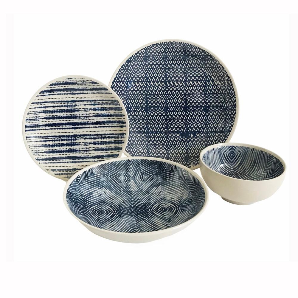 Image of 16pc Stoneware Dalton Dinnerware Set Blue Baum Bros.