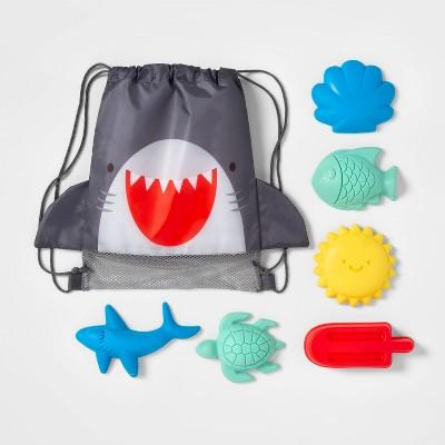 Shark Drawstring Bag Sand Mold Set 7pc - Sun Squad™