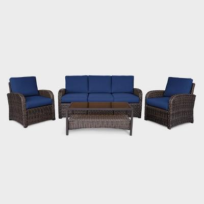 Jackson 4pc Wicker Patio Seating Set - Navy - Leisure Made
