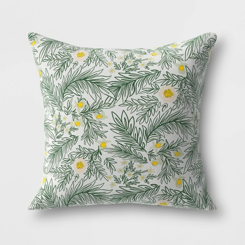 Spring Floral Outdoor Throw Pillow DuraSeason Fabric™ Green - Opalhouse™ - image 1 of 1