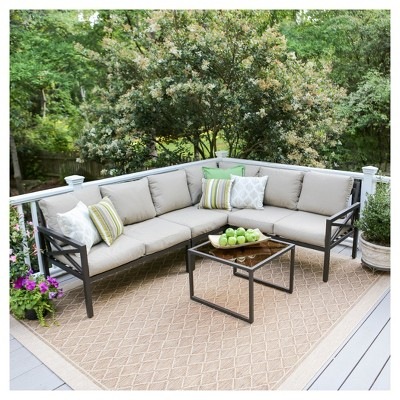 Blakely 5pc Metal Patio Corner Sectional - Red - Leisure Made