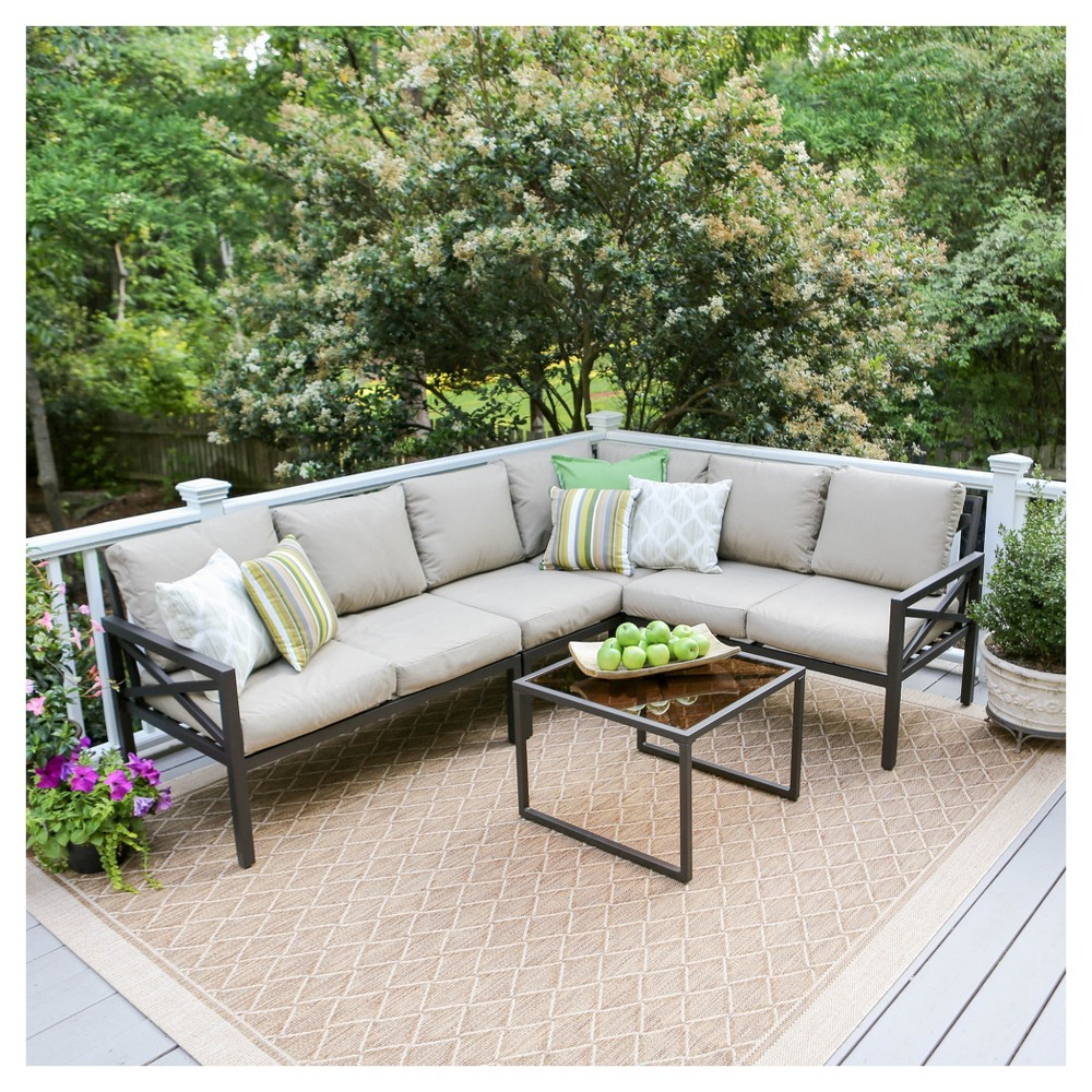 Blakely 5pc Aluminum Corner Sectional - Tan - Leisure Made