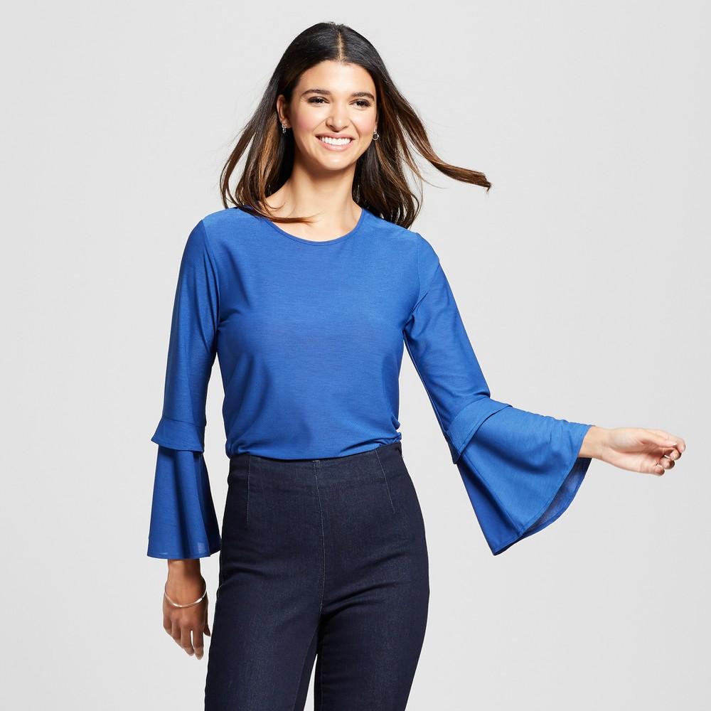 Women's Ruffle Bell Sleeve Knit Top - Éclair Blue S