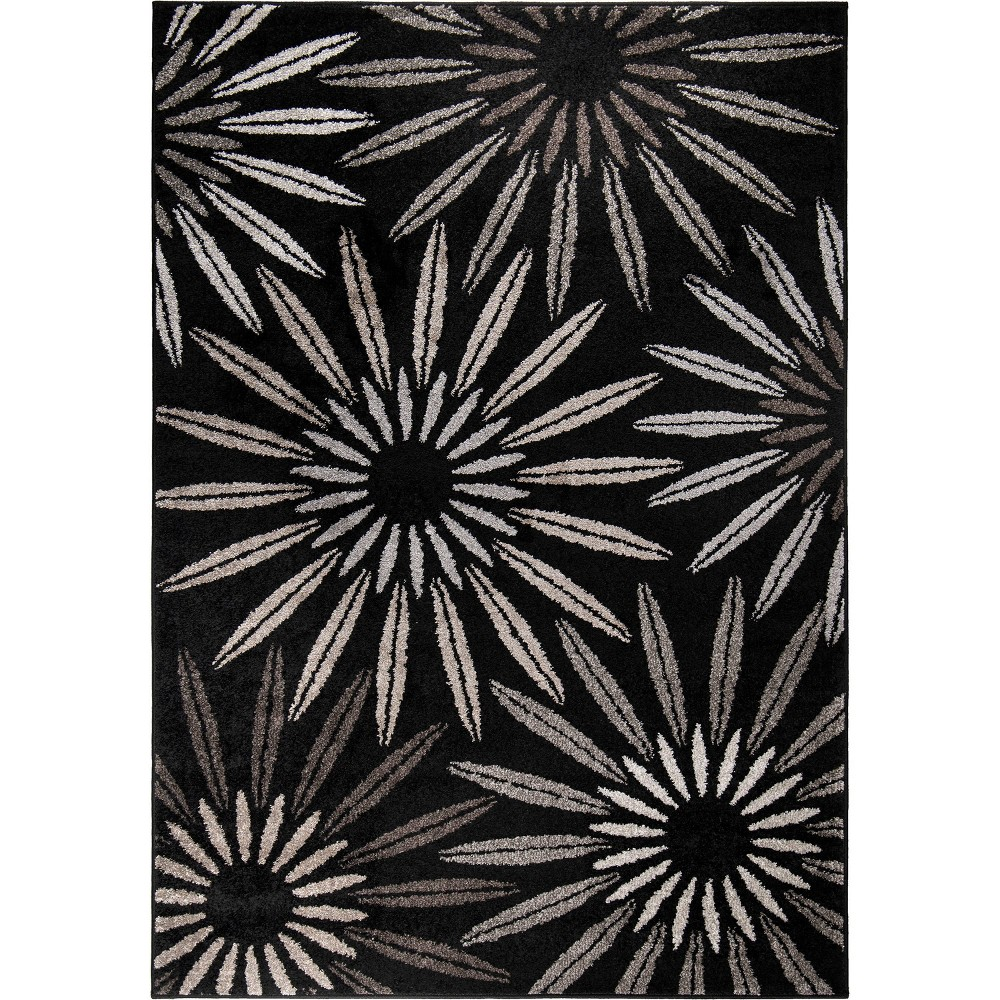 Black Abstract Woven Area Rug - (7'10