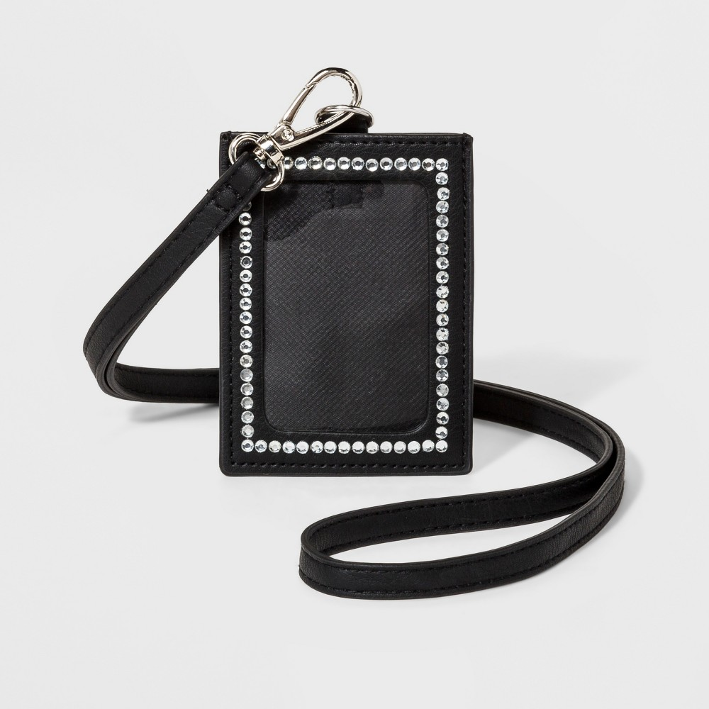 Women's Rhinestones Lanyard - Wild Fable Black Black lanyard wallet with sparkly rhinestones. Clear ID pocket lets card show through. Finished off with a removable strap. Gender: Female. Age Group: Adult. Pattern: Solid.