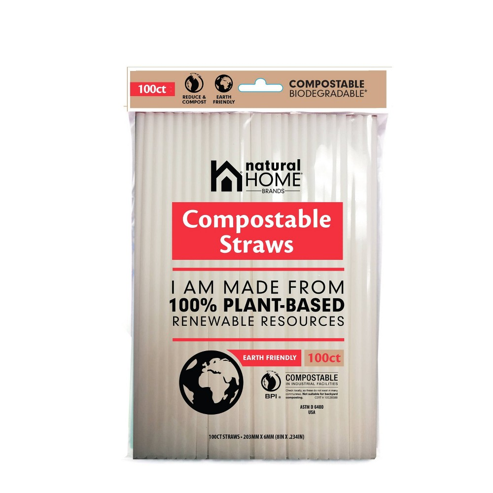 Image of Natural Home 100ct Compostable Straws, White