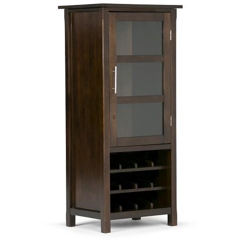 Avalon High Storage Wine Rack Cabinet Wood Brown Simpli