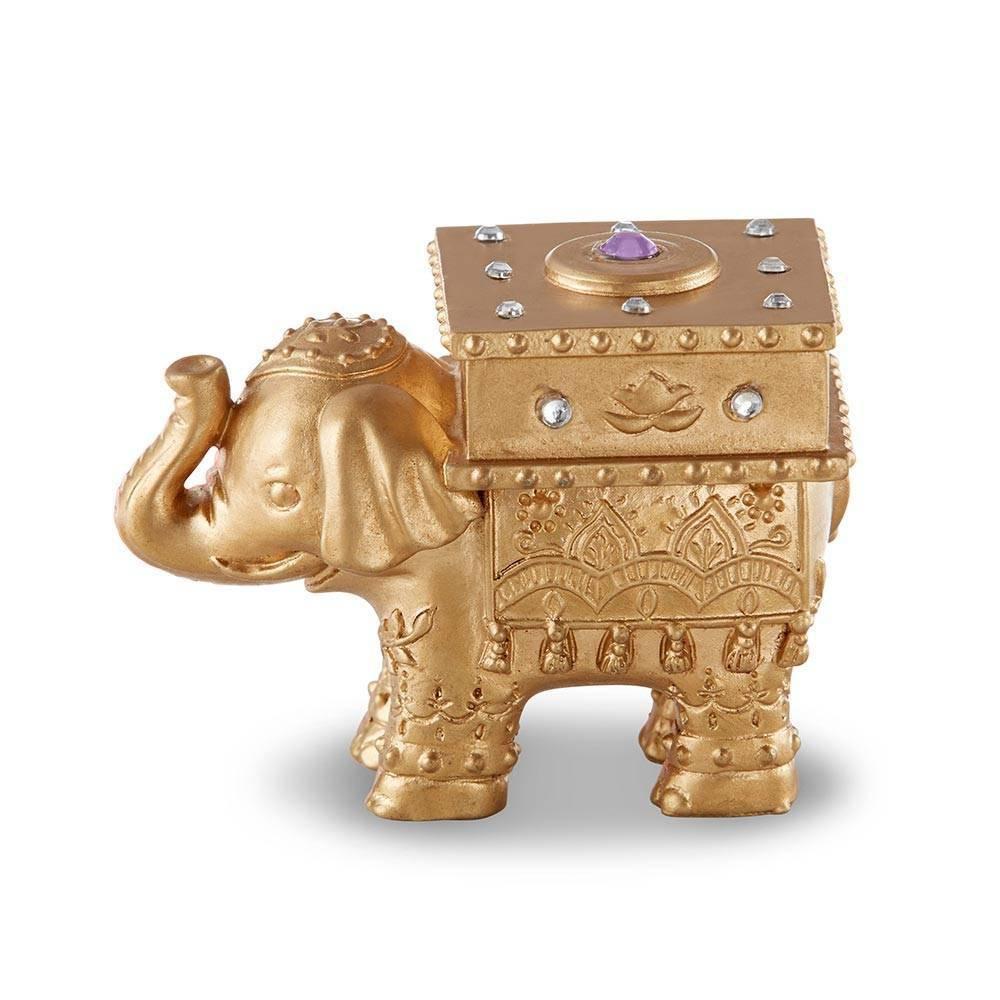 4ct Lucky Elephant Trinket Box Gold