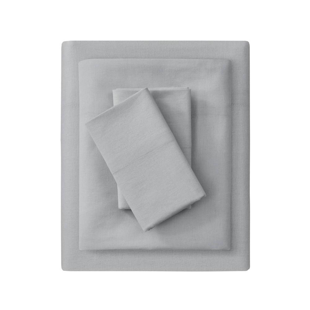 King Solid Oversize Flannel Sheet Set Gray Beautyrest