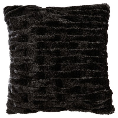 Ruched Faux Fur Throw Pillow Black