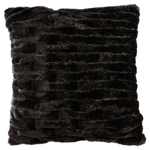 Ruched Faux Fur Square Throw Pillow - image 1 of 2