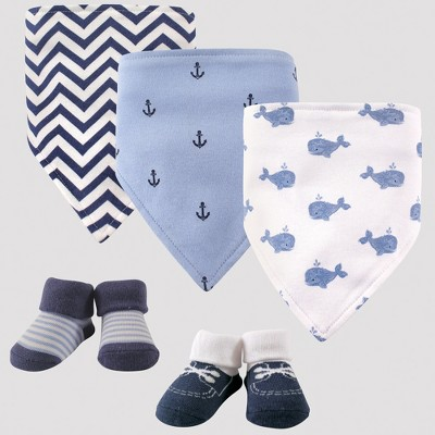 Hudson Baby Boys' 5pc Bandana Bib and Socks Set, Whales - Blue 0-12M