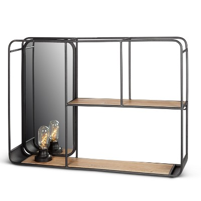 Everlasting Glow Rectangular Wall Shelf with Built in Mirror and Light Bulb