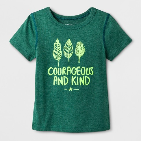 """Toddler Boys' Adaptive Short Sleeve """"Courageous & Kind"""" Graphic T-Shirt - Cat & Jack™ Green - image 1 of 1"""