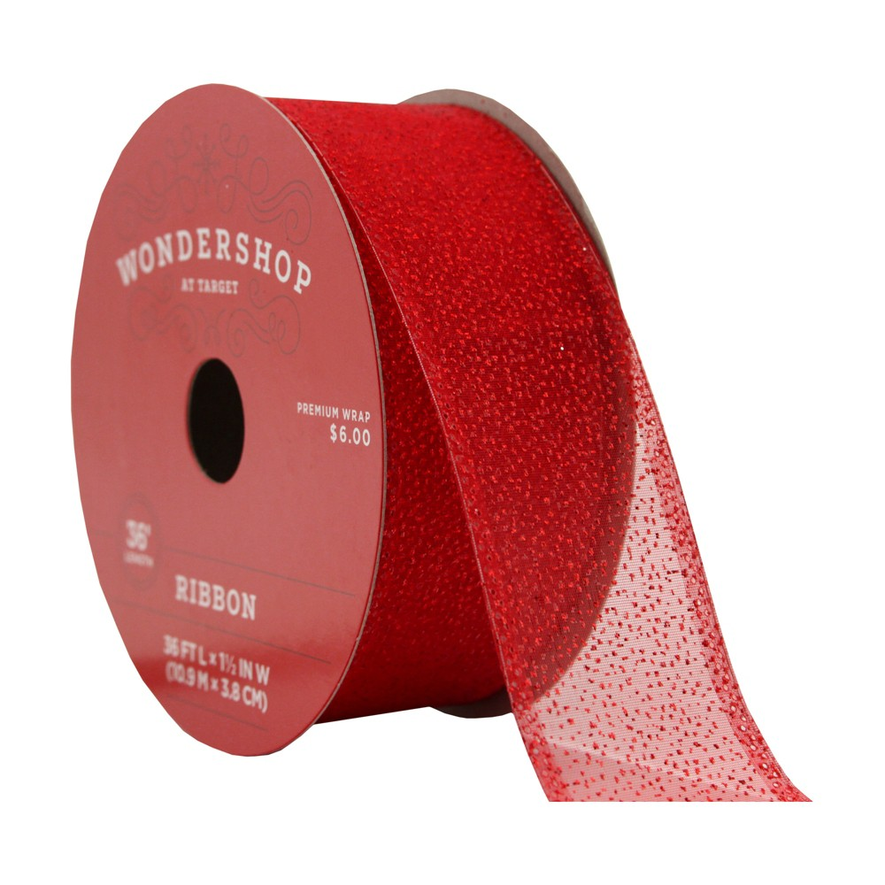 1.5 Red Glitter Dot Sheer Ribbon 36ft - Wondershop
