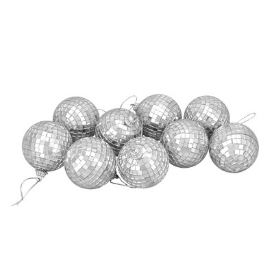 "Northlight 9ct Silver Splendor Mirrored Disco Glass Christmas Ball Ornaments 2.5"" (60mm)"