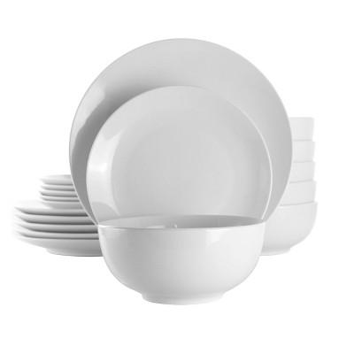18pc Porcelain Luna Dinnerware Set White - Elama