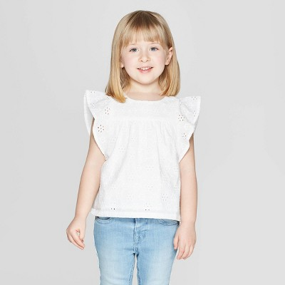 Toddler Girls' Short Sleeve Woven Blouse - Cat & Jack™ Fresh White 12M