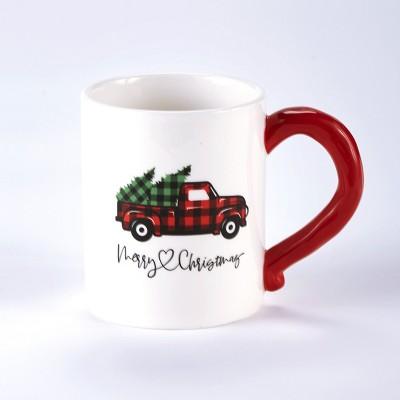Lakeside Buffalo Check Holiday Plaid Coffee Mug with Christmas Truck Motif