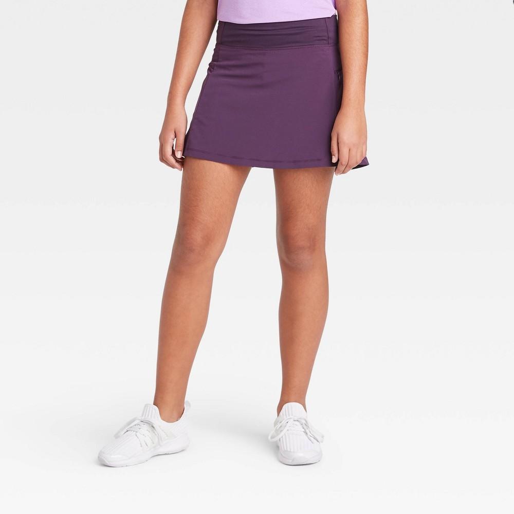 Image of Girls' Stretch Woven Performance Skort - All in Motion Dark Violet L, Girl's, Size: Large, Dark Purple