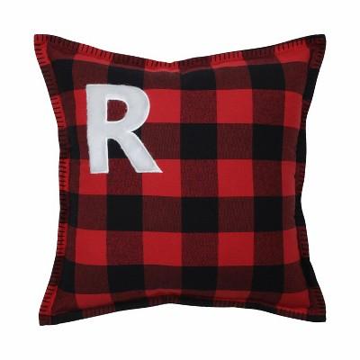 Buffalo Plaid 'R' Throw Pillow Red/Black - Pillow Perfect