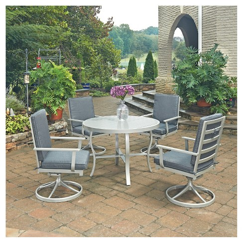 South Beach 5pc Round Metal Patio Dining Set w/ Swivel Rocking Chairs - Gray - Home Styles - image 1 of 3