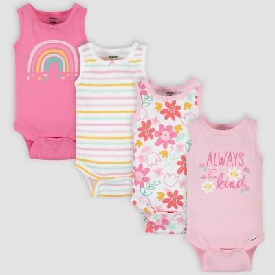 Gerber Baby Girls' 4pk 'Be Kind' Sleeveless Onesies - Pink 0-3M