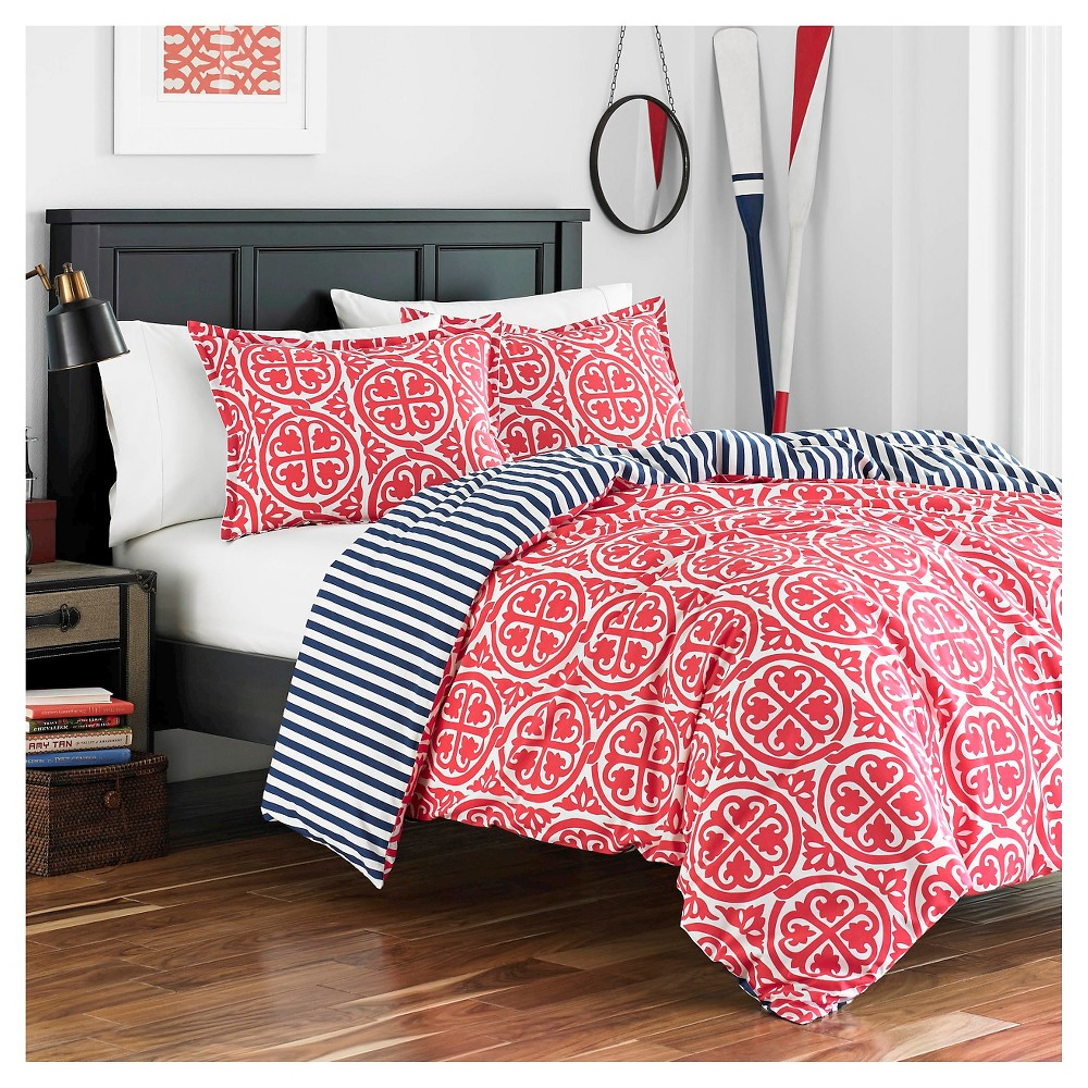 Coral Red Morgan Duvet Set (Twin) - Poppy & Fritz, Pink