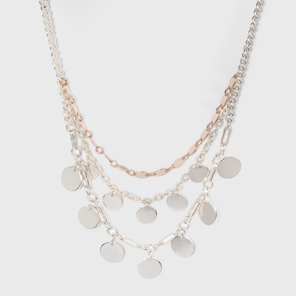 Three Chains Short Necklace - A New Day Silver/Rose Gold