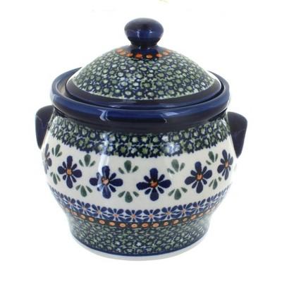 Blue Rose Polish Pottery Mosaic Flower Medium Canister
