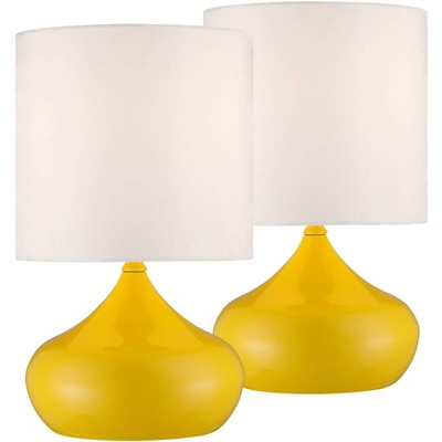 "360 Lighting Mid Century Modern Accent Lamps 14 3/4"" High Set of 2 Canary Yellow Droplet White Drum Shade for Kids Room Bedroom"