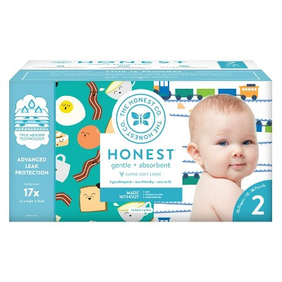 Honest Company Disposable Diapers Club Pack Trains & Breakfast - Size 2 (76ct)