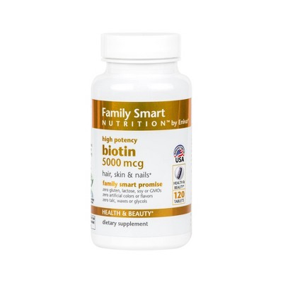 Family Smart Nutrition Biotin 5000mcg Tablets - 120ct