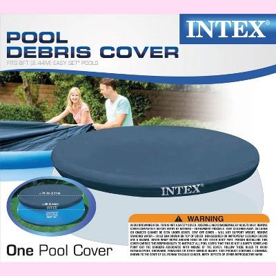 Intex 28020E 7.3 Feet Easy Set Swimming Pool Debris Vinyl Cover Tarp, Blue