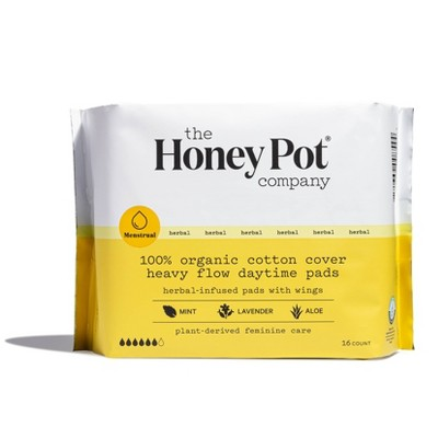 The Honey Pot Organic Cotton Heavy Flow Herbal Daytime Pads – 16ct