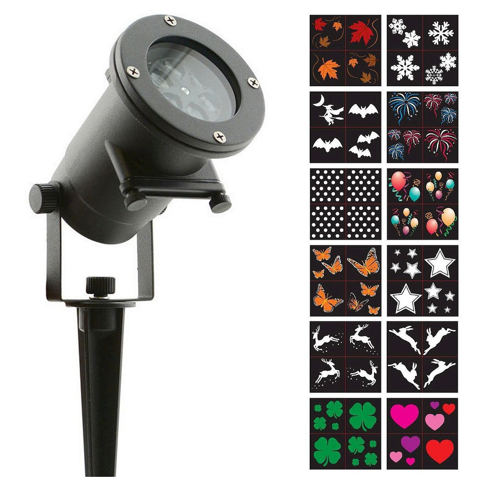 Holiday Charms Led lights 12 Interchangeable Slides - Night Stars, Black