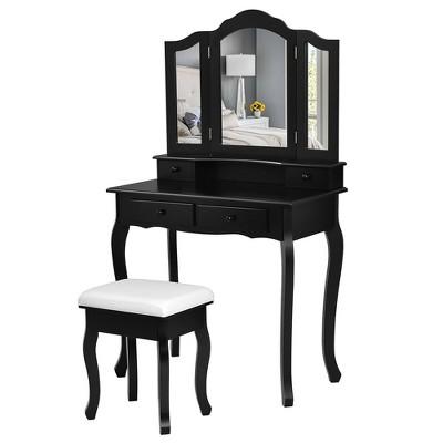 Costway Vanity Makeup Dressing Table Set W/Stool 4 Drawer&Mirror Jewelry Wood Desk Black