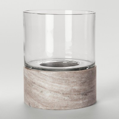 Glass and Marble Hurricane Candle Holder Large - Tan - Project 62™