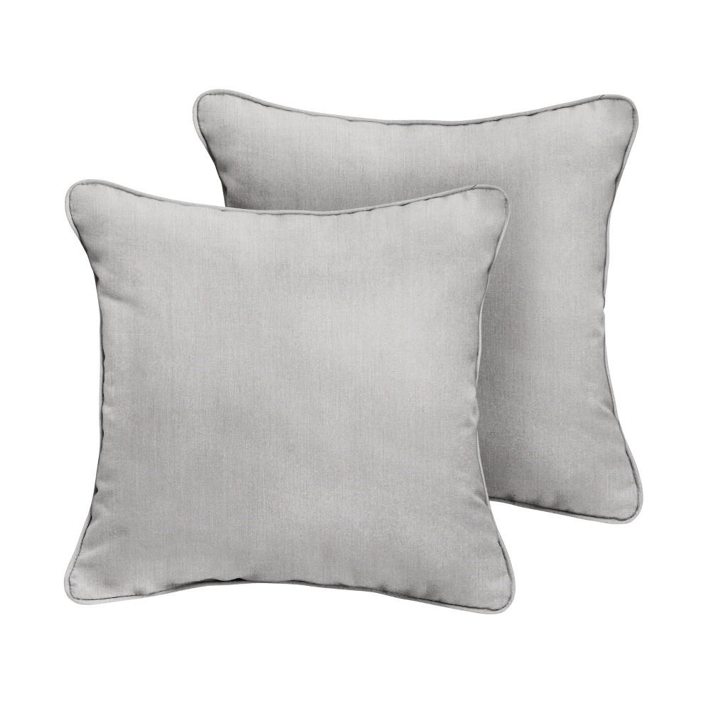 """Coupons 2pk 16"""" Sunbrella Corded Outdoor Throw Pillows Gray"""